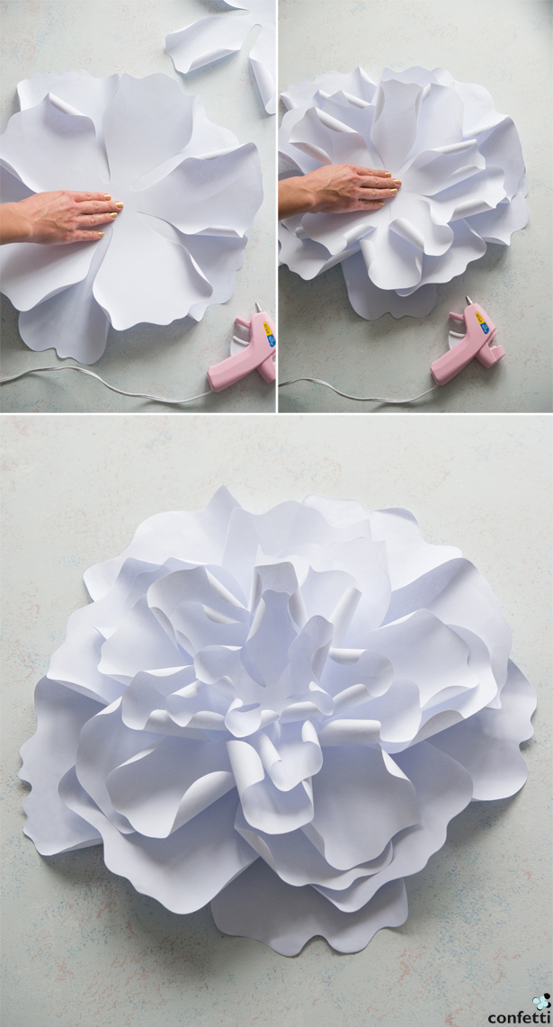Paper Peony Gluing Together | Confetti.co.uk