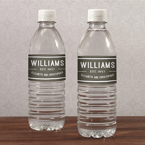 Personalised water bottle labels for a wedding