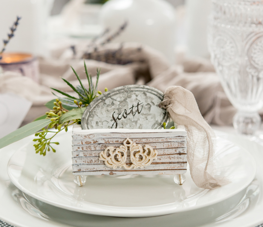Aged Vintage Chic Wedding Favour Box with Tin Favour Tags   Confetti.co.uk