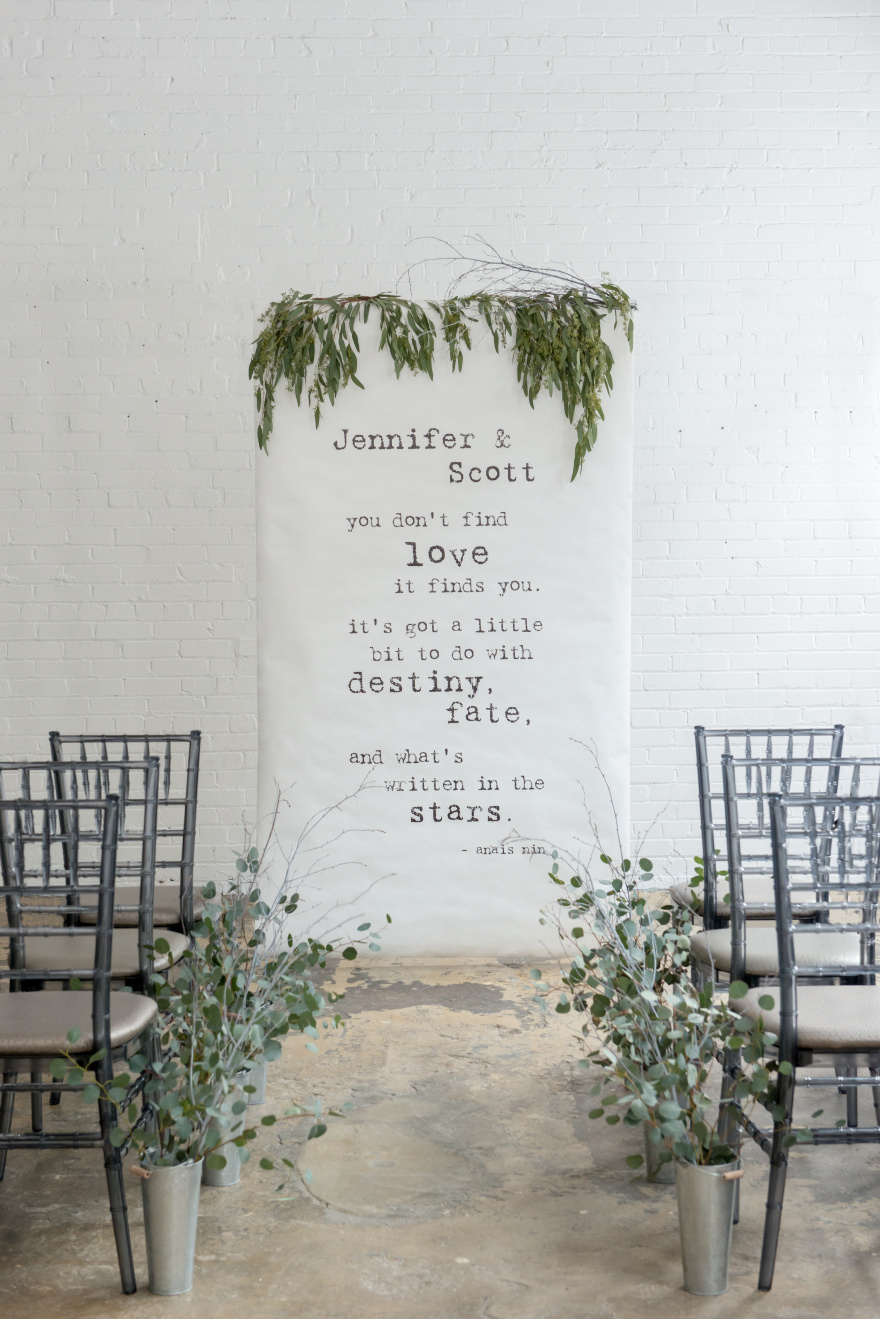 Grey and Green Winter Wedding Ceremony Aisle Decor - Bistro Bliss Personalised Backdrop - You Don't Find Love It Finds you - Destiny - Fate - Written In The Stars | Confetti.co.uk