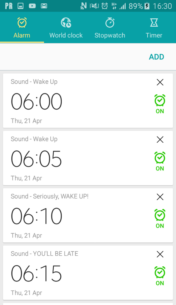 Repeating alarm for an important day