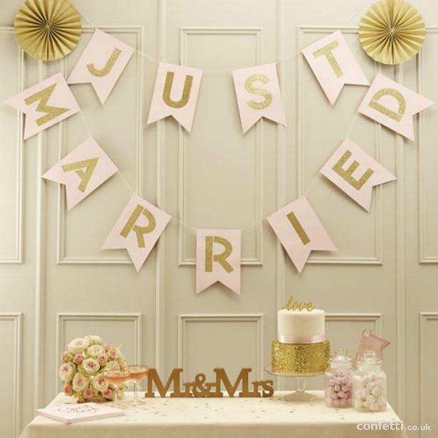 Gold and pastel pink Just Married flag bunting | Confetti.co.uk