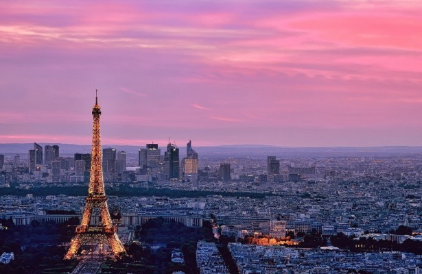 Eiffel Tower Paris Pink Skyline