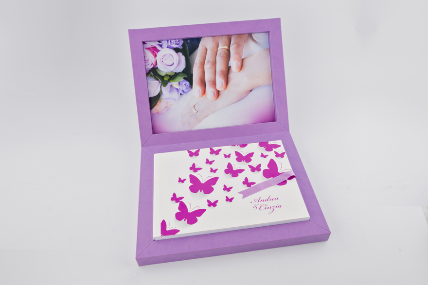 Open Butterfly Wedding Album Young Purple Book by Graphistudio   Confetti.co.uk