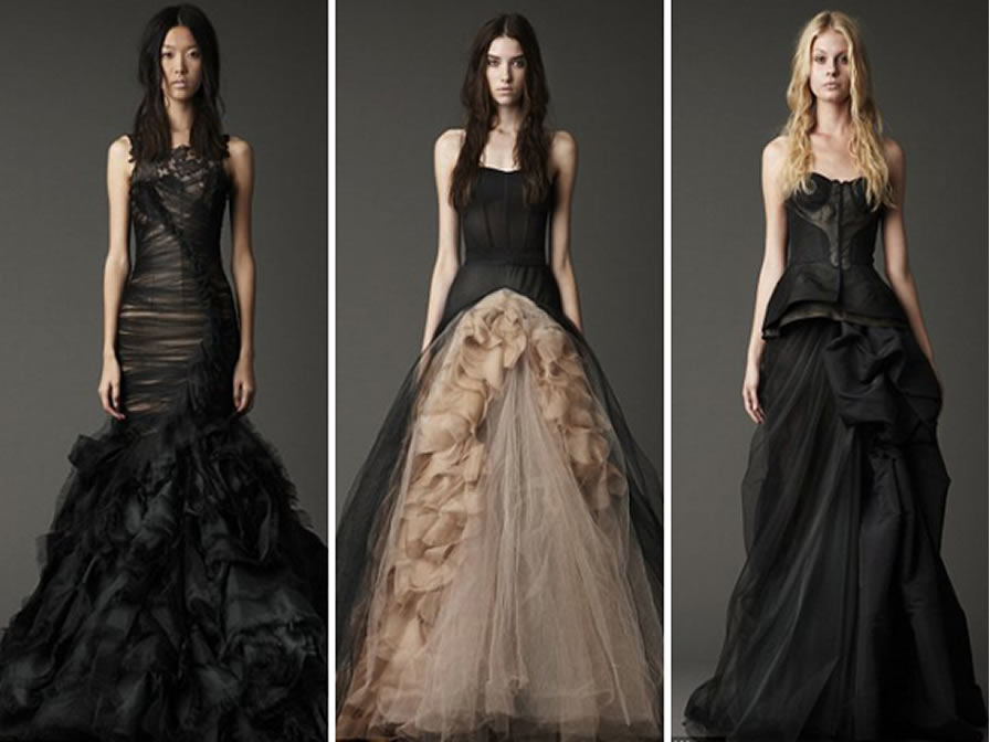 Halloween weddings from gothic elegance to horror schlock for Black designer wedding dresses