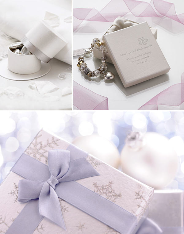 Hen Gifts & Favours Mood Board with Ribboned Silver Top Hat Favour Box, Amore Bridesmaid Gift Charm Bracelet and Lilac- and silver-wrapped Christmas Parcel