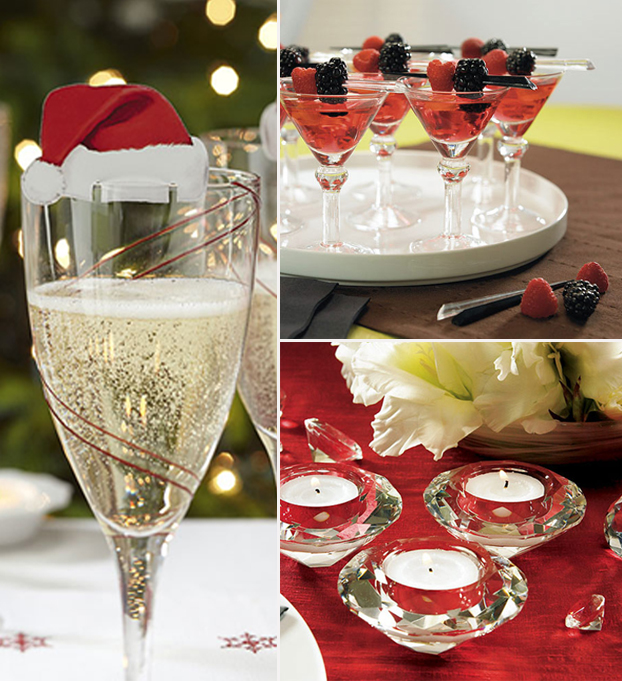 Hen Party Drinks Mood Board with Christmas Cheer Glass Decoration, Mini Martini Glasses and Crystal Tealight Holders