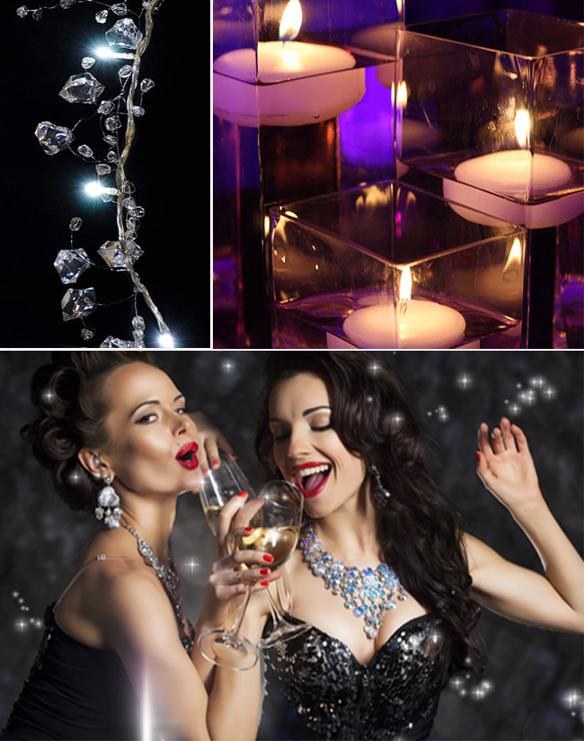 Hen Party Mood Board with Ice Cluster White Crystal Garland, Coloured Floating Candles and Glamorous Bachelorette party-goers