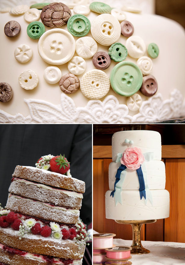 Cakes by Sugar & Lace Buttoned and Decorated with Ribbon and Flowers and Fruit Toppers