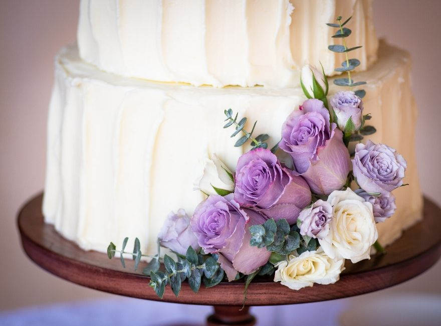 Close up of a traditional white wedding cake