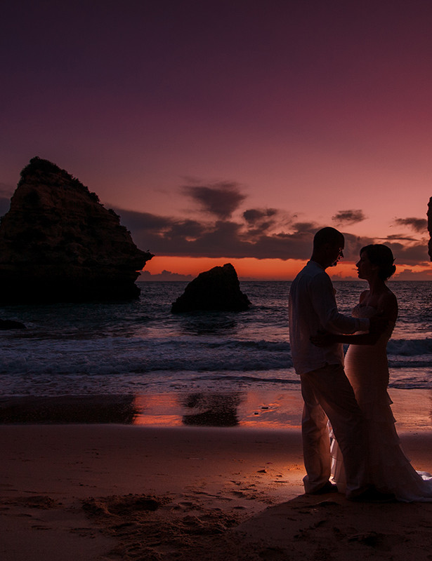 Algarve Wedding Photography Sunset Bride and Groom Silhouettes