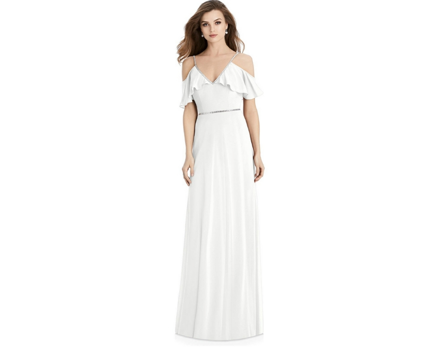 Off the shoulder white bridesmaid dress