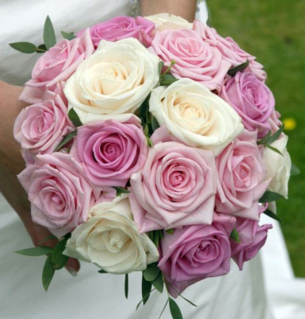 Beautiful Pink and Cream Bridal Flower Bouquet