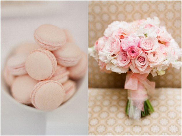 Pink dessert and bridal rose bouquet