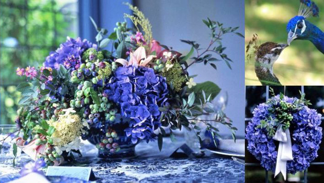 Purple and blue flowers centrepiece