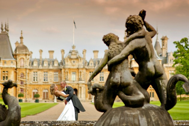 Bride & Groom Outside The Dairy at Waddesdon Manor