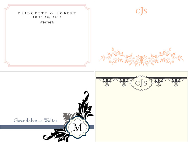 Expressions - Forget Me Not - Fleur de Lis - Lavish Monogram Wedding Note Cards