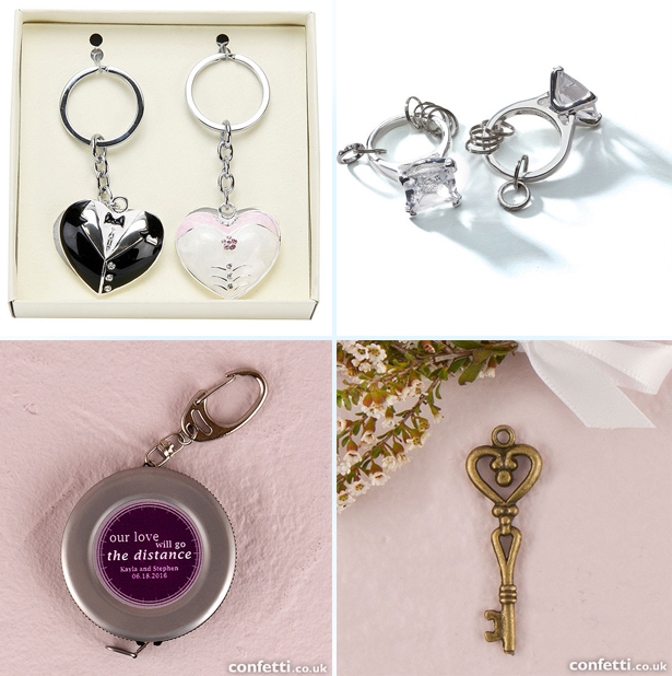 Wedding Gift Set Bride and Groom Keyrings - Enormous Engagement Ring Keychain - Heart Shape Antique Key Chain - Measuring Tape Keychain