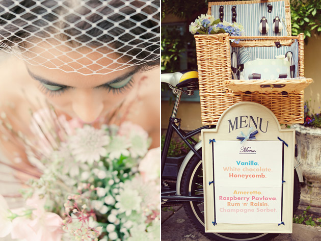 Vintage Bride and Ice Cream Cart