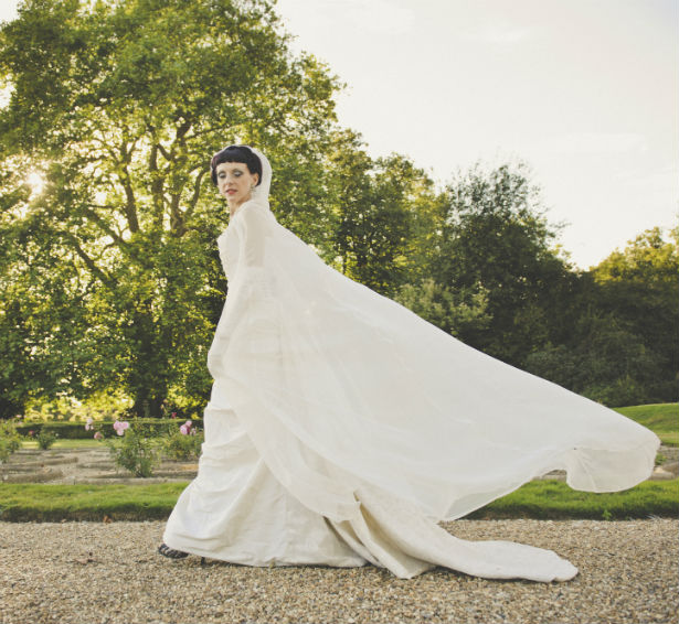 Halloween wedding dress with cape and hood by Halo and Hobby