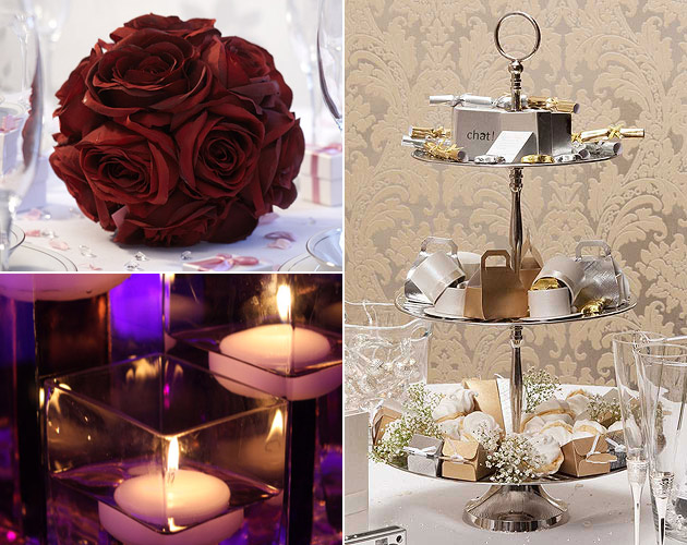 Wedding Table Large Rose Ball Silver Cake Stand & Floating Candles