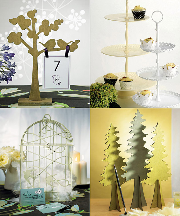 Reception Table Wooden Trees White Cake Stand & Love Bird Birdcage