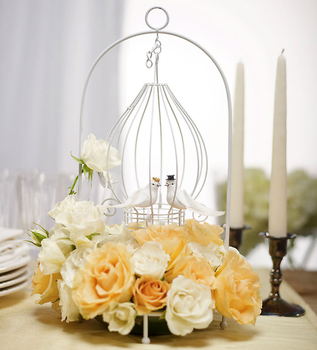 Ornamental Wire Love Birds Centrepiece Birdcage