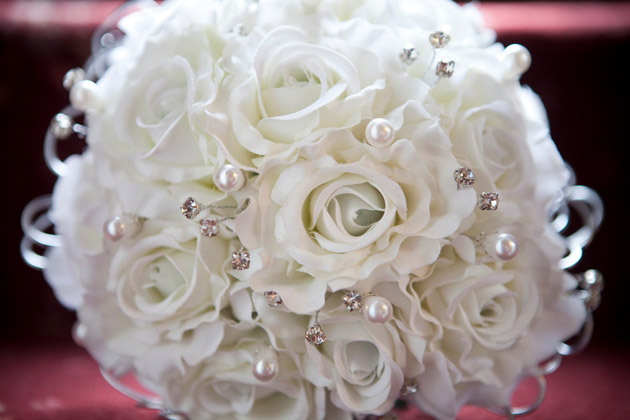White Bridal Bouquet With Crystals & Pearls