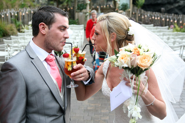 Bride and Groom Toast After Ceremony
