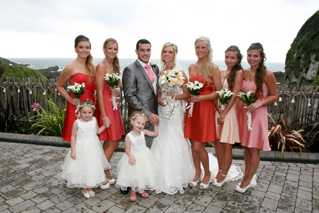 Bride with Groom and Bridesmaids