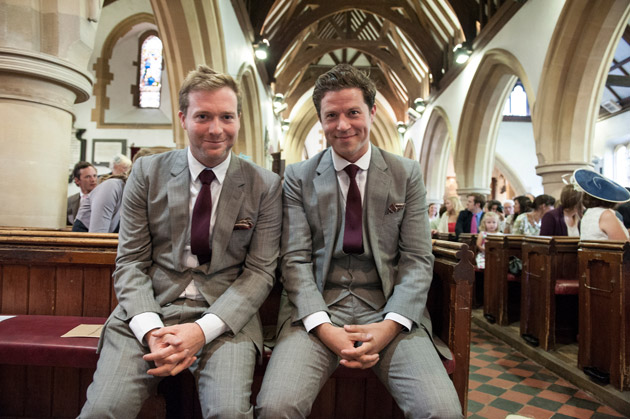 Groom and Best Man Waiting at Church