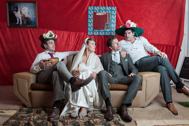 Bride and Groom with Groomsmen on Couch
