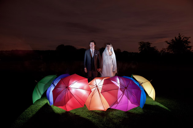 Bride and Groom With Lighted Umbrellas