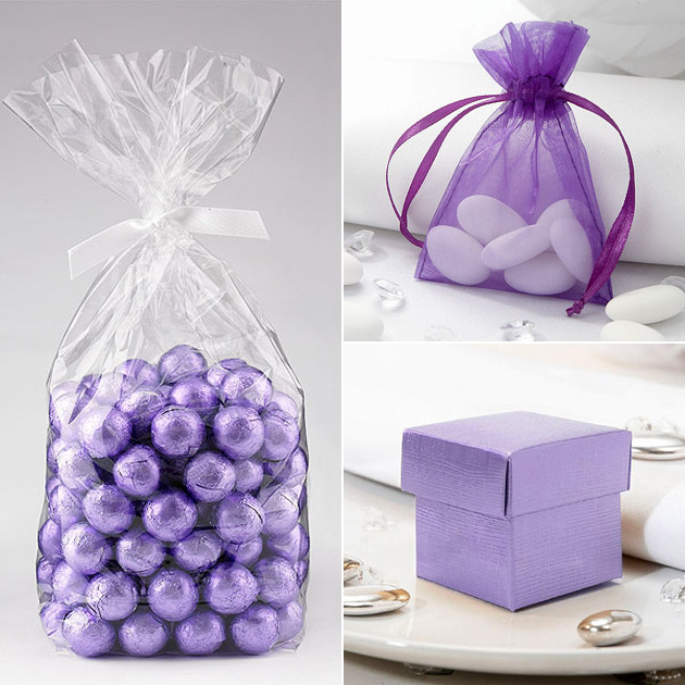 Purple Chocolate Balls Organza Favour Bags Favour Boxes