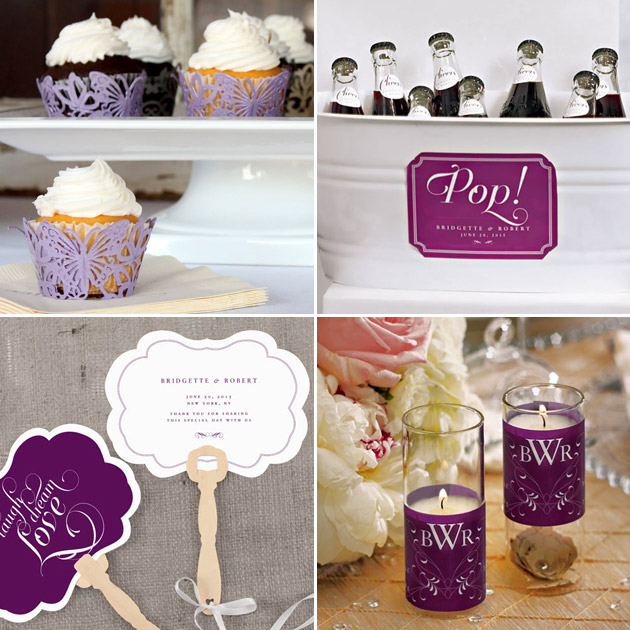 Purple Cupcake Wraps Labels Candle Wraps Fans