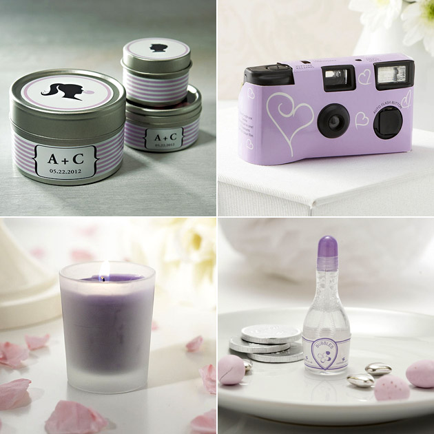 Purple Labels Disposable Cameras Wedding Bubbles Candles