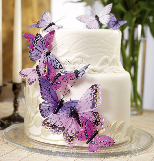 Rose And Butterfly Purple Wedding Cakes