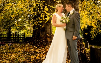 Autumn Bride and Groom