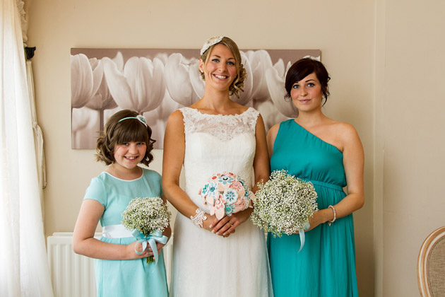 Non-matching bridesmaid dresses at Claire and Conal's Real Wedding