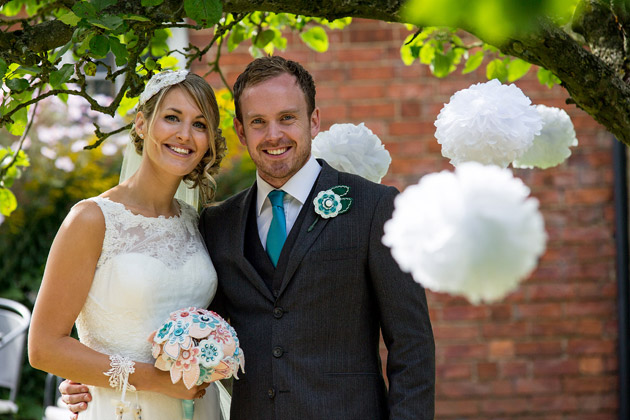 Bride and Groom and Hand Made Pom Poms
