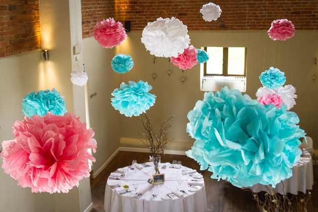 DIY Pom Poms Made by the Bride