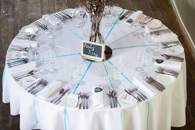 Round reception table at Claire and Conal's Real Wedding   Confetti.co.uk