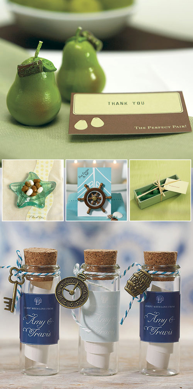 Beach and Green Themed Wedding Favours