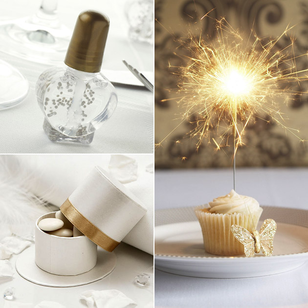 Gold Wedding Bubbles Sparklers Round Favour Box