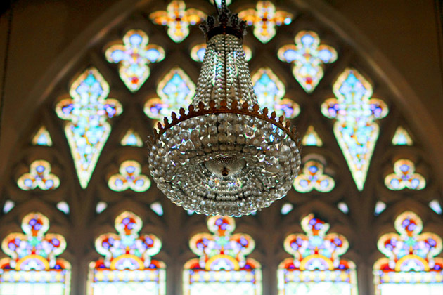 Church Window and Chandelier