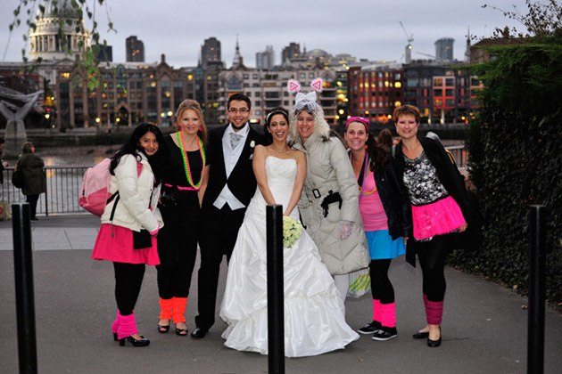 Bride and Groom With Hen Party