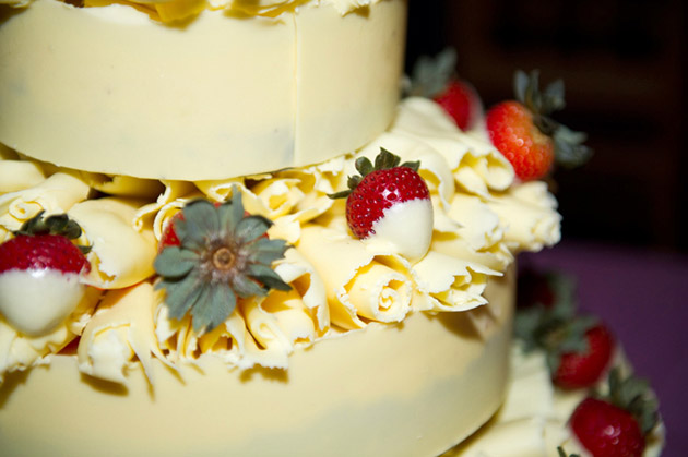 White Chocolate and Strawberry Wedding Cake