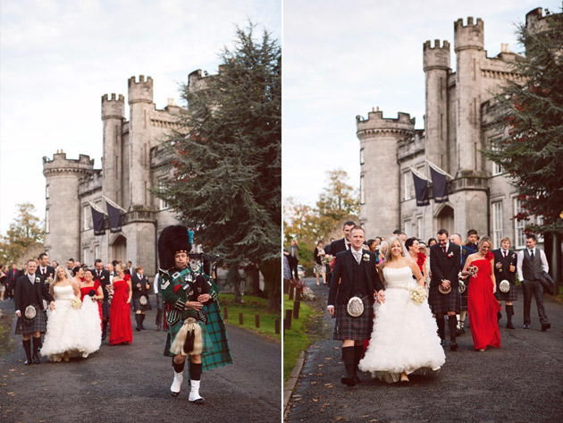 Newlyweds and Guests Walking to Reception
