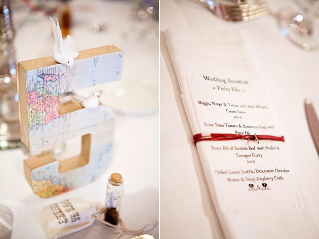Wedding Reception Travel Theme Table Numbers and Menu