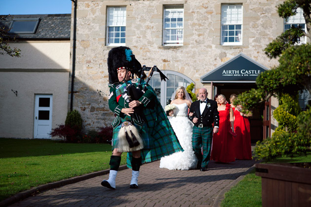Bride and Father With Piper Leaving for Ceremony